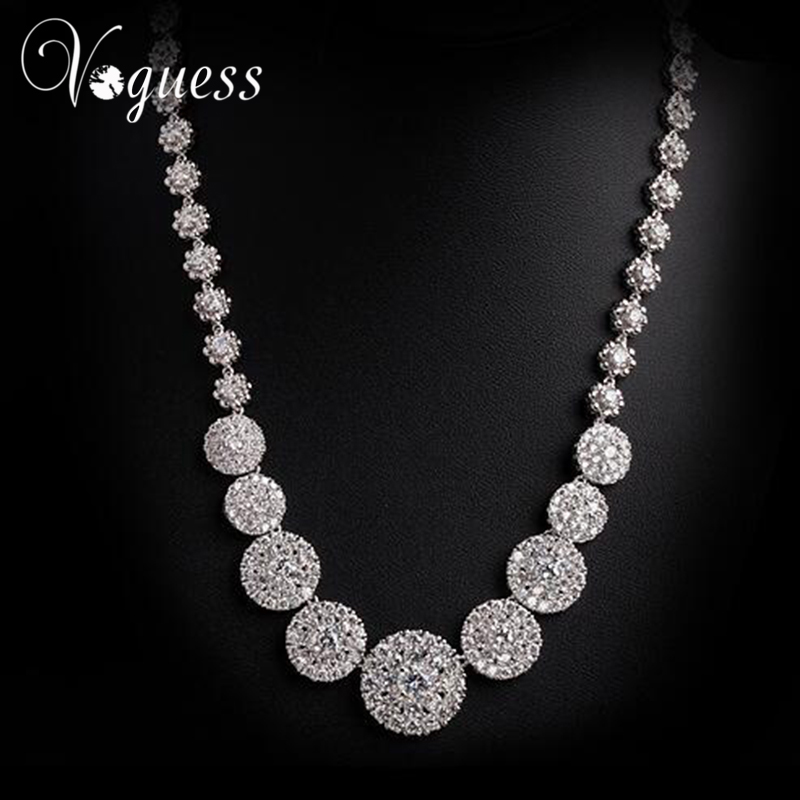 VOGUESS Luxe Chorkers Necklace Round Rhinestone Zircon Pendant Necklace Fashion Women Collars Necklace Wedding Bijoux
