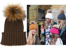 women men's good New super raccoon fur ball knitting wool hat lady warm earmuffs ball cap