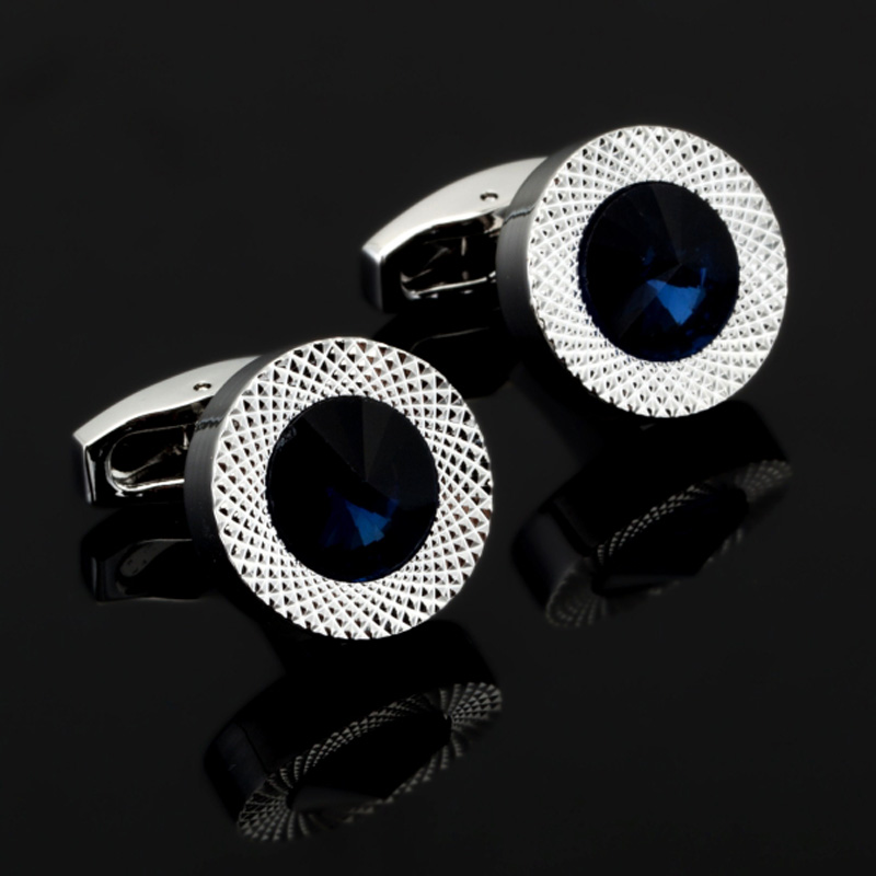 DY New high-end fashion men's shirts Cufflinks Luxury Design Silver Round Blue Crystal Cufflinks(China)
