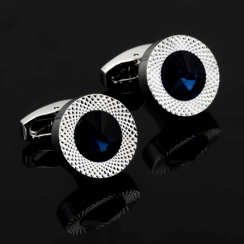 DY New high-end fashion men's shirts Cufflinks Luxury Design Silver Round Blue Crystal Cufflinks