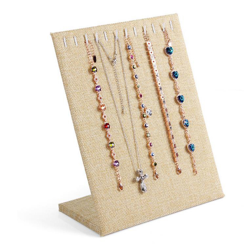 JAVRICK Linen Necklace Chain Bracelet Display Stand Board Jewelry Holder Rack 11 Slots 2S90003