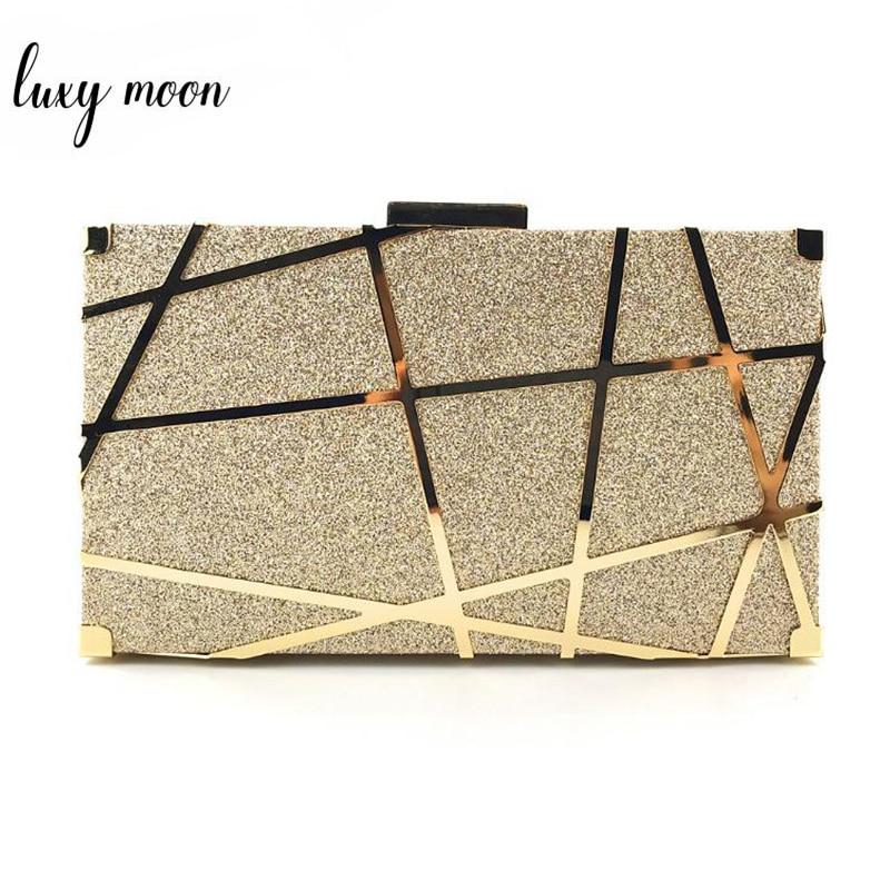 Metal Hollow Clutch Bag Female Gold/Silver Clutch Purse and Handbag Women Bags Designer High Quality Shoulder Bag bolso ZD1342