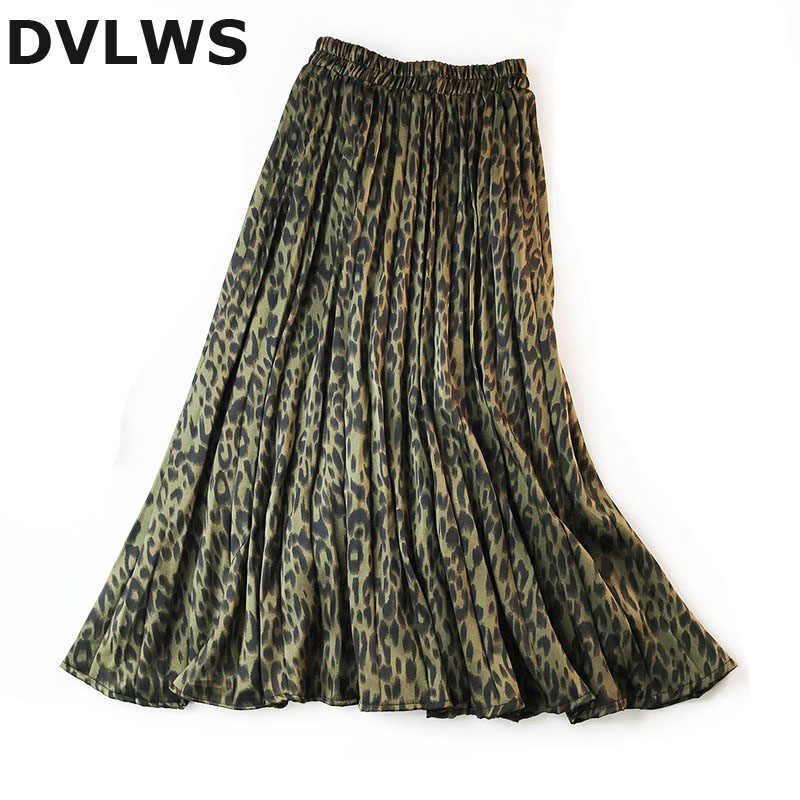 DVLWS Leopard Print Skirts Autumn Stain Pleated Skirts Women za 2019 Saia Jupe Longue 3 Colors Avaliable Army Green Pink Khaki