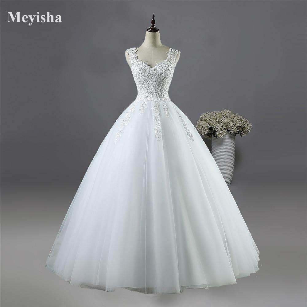 ZJ9076 New White Ivory Crystal Pearl Lace kāzu kleitas 2017 līgavas kleita kleita vestido de noiva mežģīnes atpakaļ 2-26W pasūtījuma