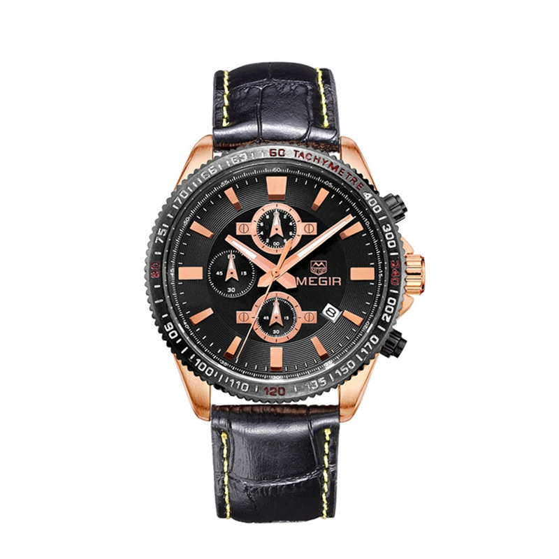 Megir fashion leather stop watch man casual luminous brand quartz watches men's wrist watch chronograph hour for male 3001 megir fashion casual stop watches for men luminous running brand watch for man leather quartz watch male 2007 free shipping