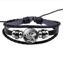 Braided Leather Bracelet Sea Life Jewelry Octopus Glass Dome Charm  Men Women Cool