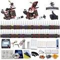 Beginner Complete Tattoo Kit Set 54 color Inks Power Supply 2 Guns D100-2