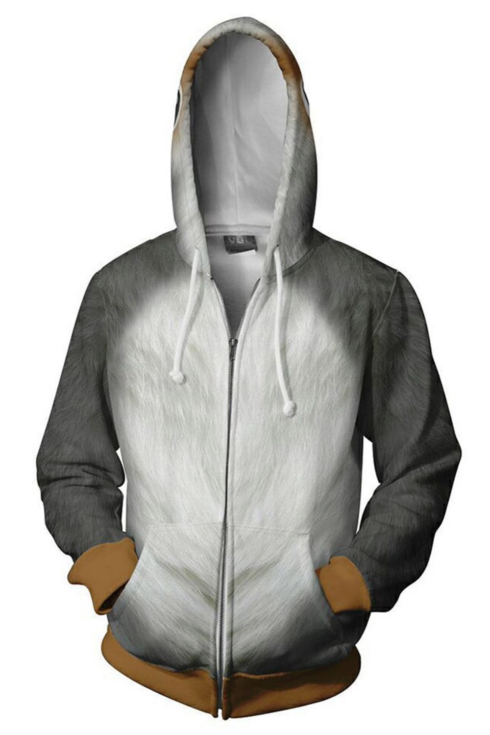 Star Wars Porg Hoodie Sweatshirt Long Sleeve Casual Plus Size Homme Autumn Winter Hoodies Men Zipper Streetwear