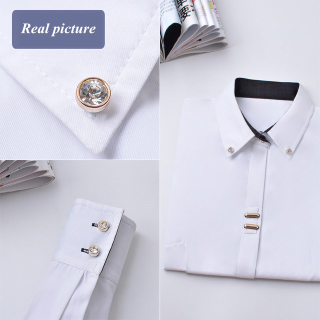Fashion Clothes OL Women Long Sleeve Shirt Black White Slim Patchwork Sequined Cotton Blouse Office Ladies Plus Size Formal Tops 6