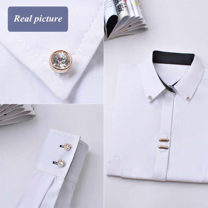 Mode kleding OL vrouwen lange mouw zwart wit slanke Patchwork Lovertjes katoen blouse kantoor dames plus size formele tops