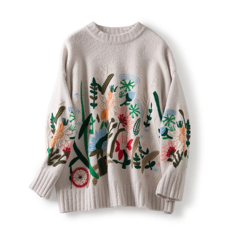 Flower sweater women embroidery wool sweater pullover jumper winter  oversize knitting warm casual knitwear 2017 black beige grey-in Pullovers  from Women s ... dcdeadaee