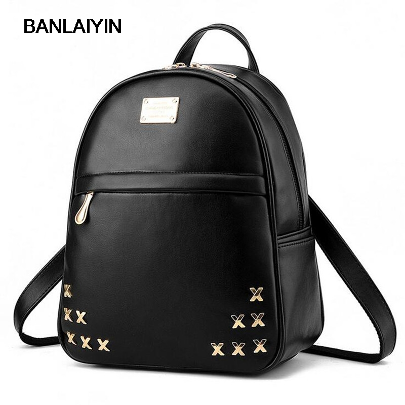 New Preppy Style School Backpack Pu Leather Rivet Fashion Women Shoulder Travel Bag With Solid Color