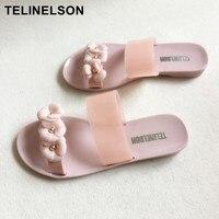 Для женщин милые прозрачные сандалии мыльницы отделанные хрусталем прохладный розовый леди Пляжные сланцы женский цветок Повседневное шл