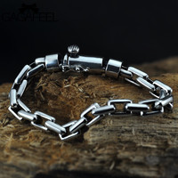 GAGAFEEL Men Jewelry 925 Sterling Silver Braceles Bangles Chain 17 21CM 6 8MM Width Domineering Personality