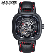 Skeletonised Sport Watch Polished Stainless Steel Gun Metal 40 hour power reserve Clock Black Red Men Racer Military Wristwatch