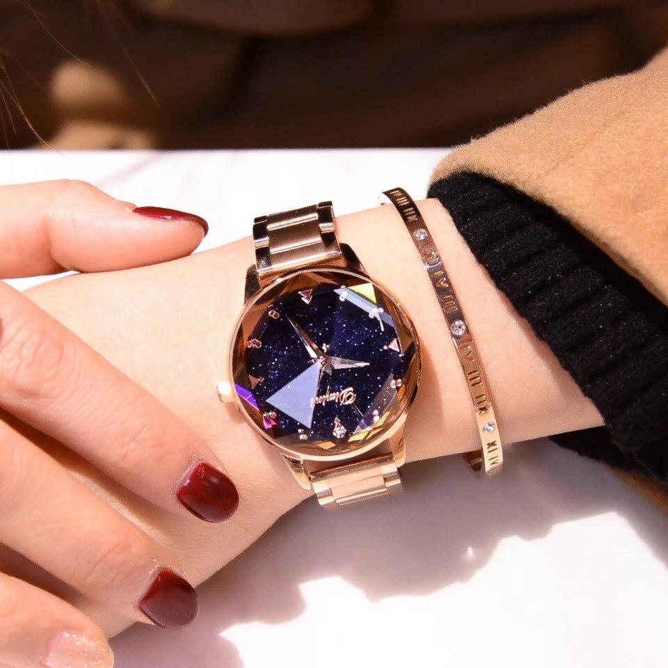 Rose Gold/Purple Luxury Alloy Quartz Watch Waterproof Women Watch Bling Crystal Water Resistant Wristwatch Reloj De Mujer 2018 цена и фото