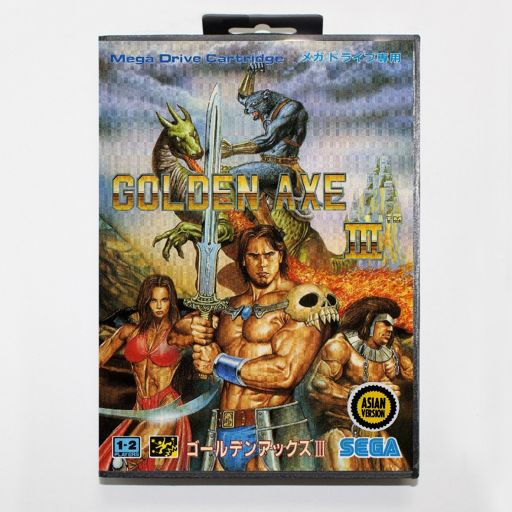 Golden Axe III 16 bit MD card with Retail box for Sega MegaDrive font b Video