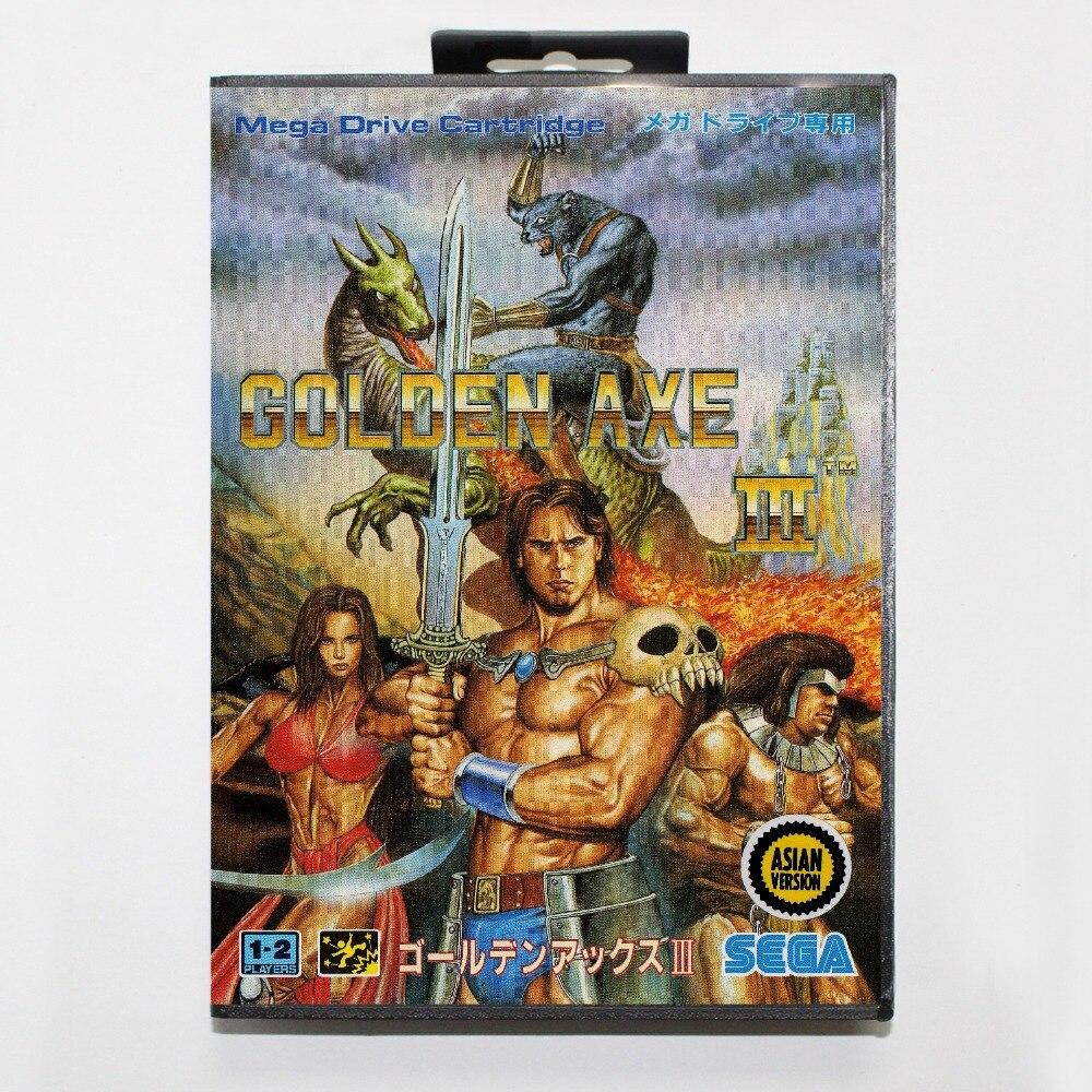 Golden Axe III tarjeta MD de 16 bits con la caja Al Por Menor para sistema de co
