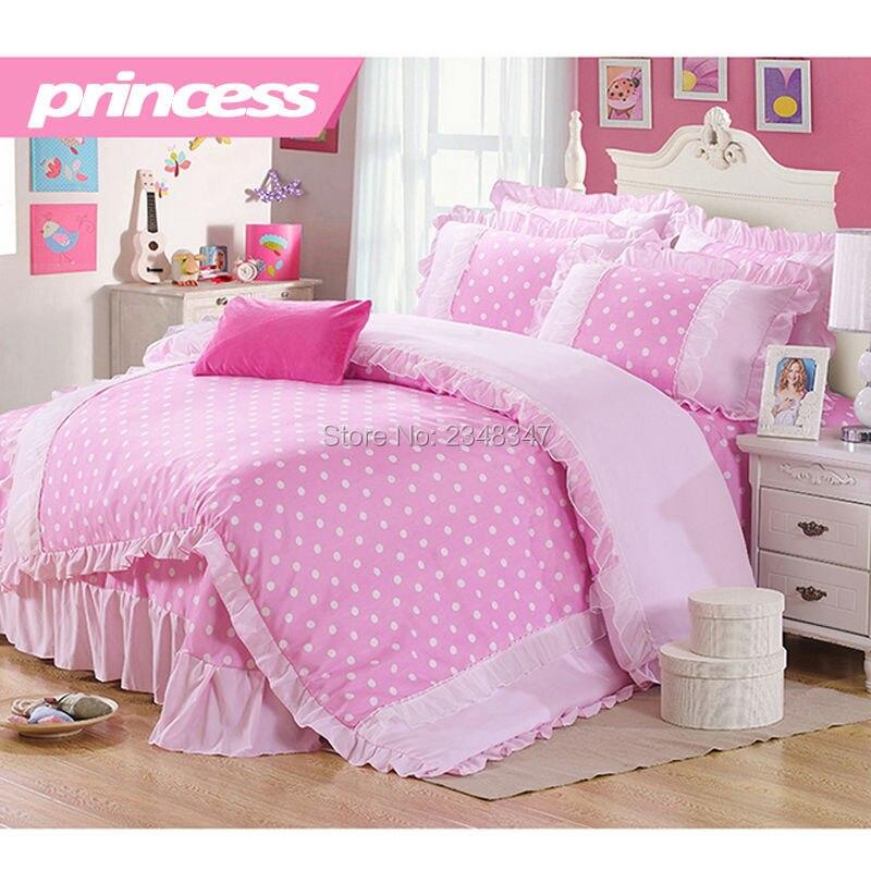Pure Cotton Sweet Princess Style Pink Lace Drapes Polk Dots 4Pcs Full/Queen Size Bed Quilt/Duvet/Doona Cover Set &Sheet 2xShams