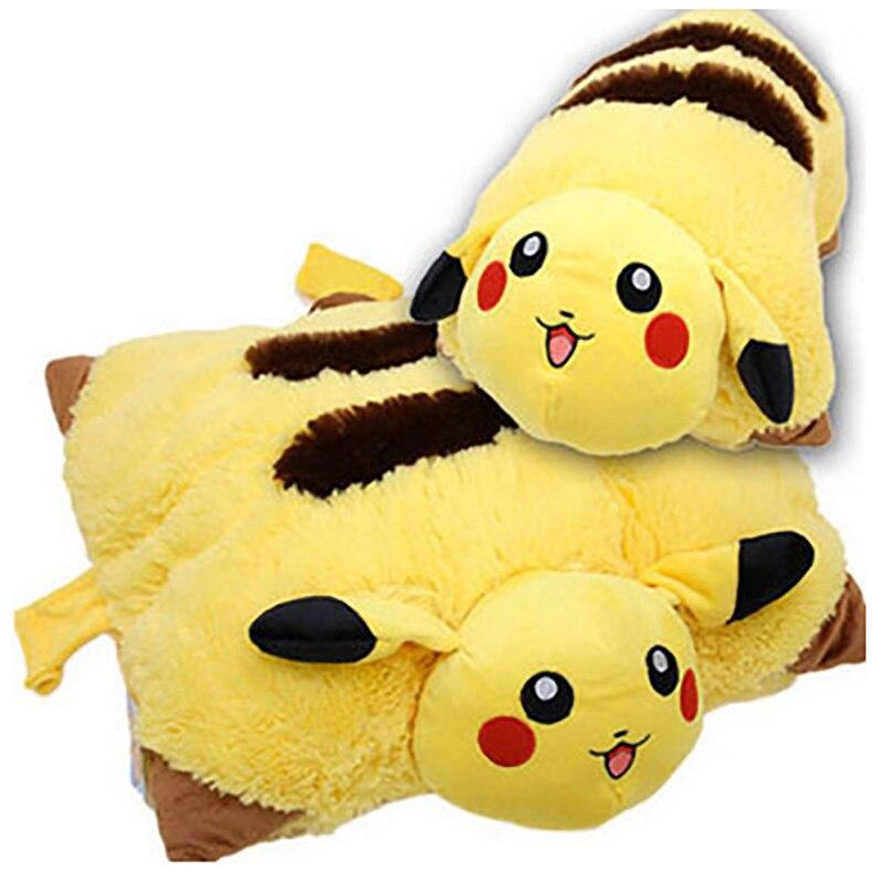 Pikachu Animal Dolls 42 30 CM Baby Plush Toys Children Pocket Folding Pillow Send Kids As