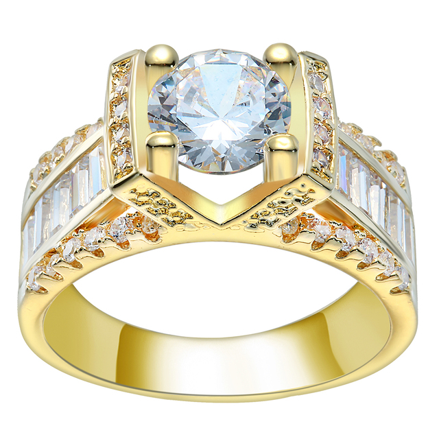 Nette Design Victory Zeichen Gold Farbe Hochzeit Ring Luxus