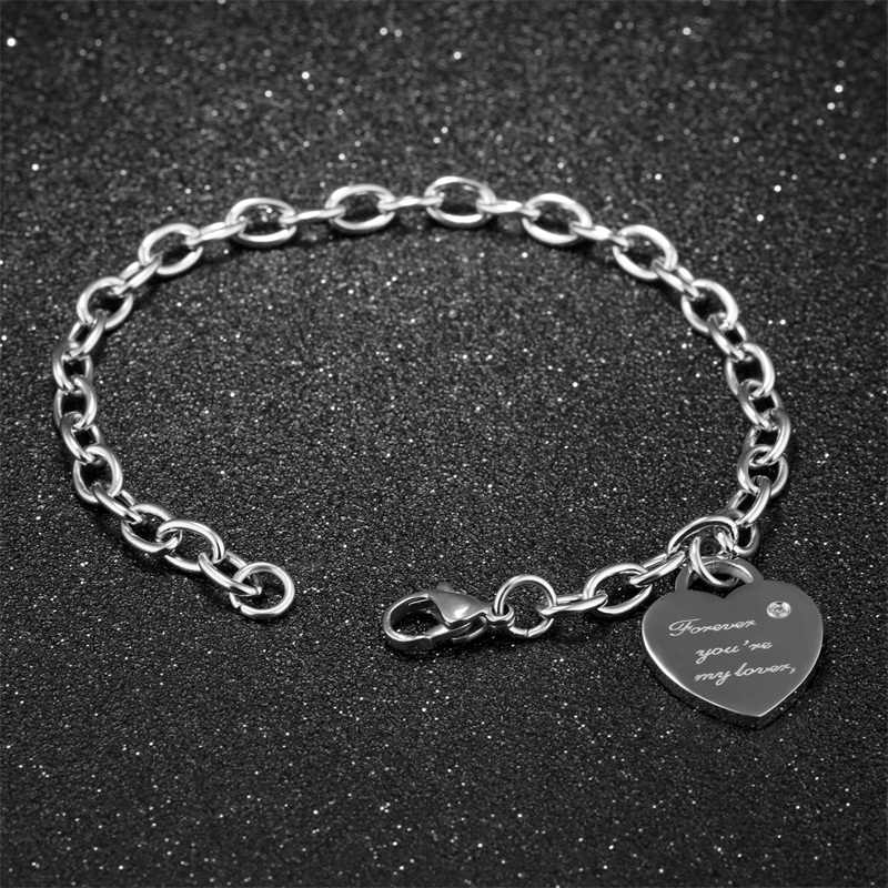 AZIZ BEKKAOUI Rose Gold Personalized Name Crystal Heart Pendant Bracelets Stainless Steel Bracelets For Women Romantic Gift