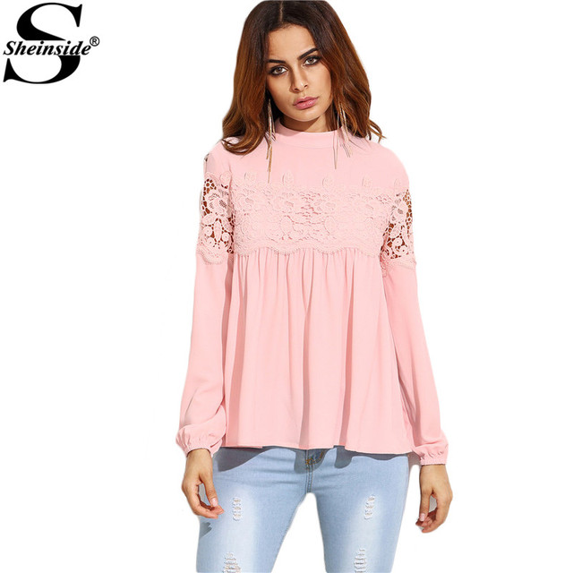 Sheinside Pink Mock Neck Lace Applique Babydoll Top Women Long Sleeve Shirt 2016 Fall Loose Keyhole Blouse