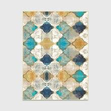 Модный Ретро винтажный Европейский марокканский стиль бриллиантовый Коврик для двери/кухни коврик для гостиной спальни прикроватный ковер синий желтый