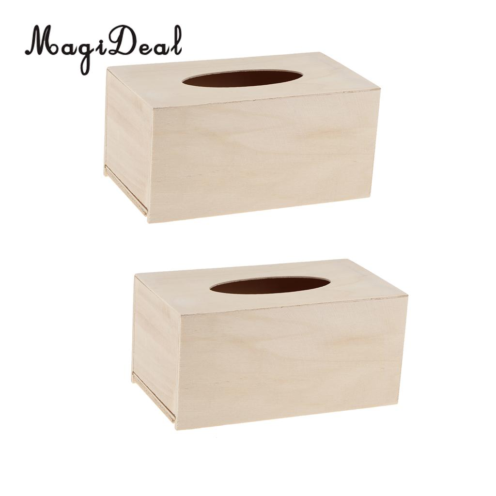 MagiDeal Unfinished 2Pcs Wood Tissue Box Holder Natural Wooden Box Cover Set for Home Schools Kindergarten Teaching Supply Gifts