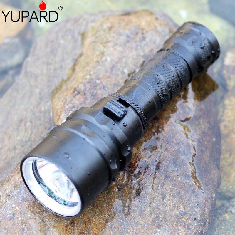 YUPARD Plongée diver Étanche sous-vêtements XM-L2 LED T6 LED lampe de Poche Lampe Torche lampe Pour 1x18650 rechargeable batterie camping