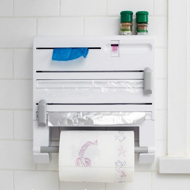 Six-in-one Function Multipurpose Shelf Storage Box Paper Holder Plastic Wrap Cutter Dispenser Preservative Film Cutter Tool