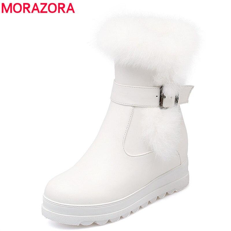 MORAZORA/2018 г. Большие размеры 34-43, новые женские ботинки, теплые зимние ботинки с кроличьим мехом, женские ботильоны на платформе с круглым носк...