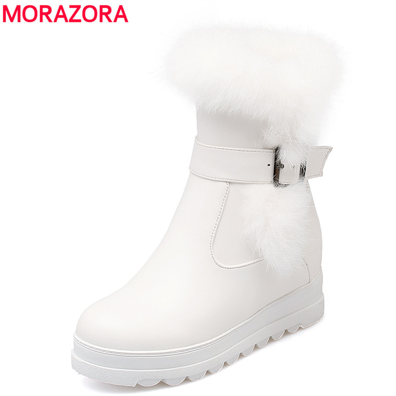 MORAZORA 2018 Big size 34-43 new women boots rabbit fur winter keep warm snow boots round toe platform lady ankle boots footwear big size 34 43 winter russian women keep warm shoes 100% cow suede fur shoes flat with round toe solid ankle lady snow boots
