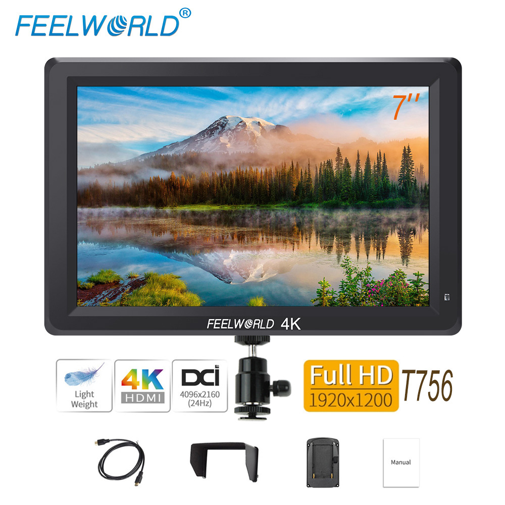 Feelworld T756 7 inch On Camera Field Monitor DSLR 4K HDMI Full HD 1920x1200 LCD IPS Screen Portable External Display for Nikon feelworld f7s 7 inch sdi 4k hdmi on camera dslr field monitor full hd 1920x1200 aluminum housing small lcd ips external display