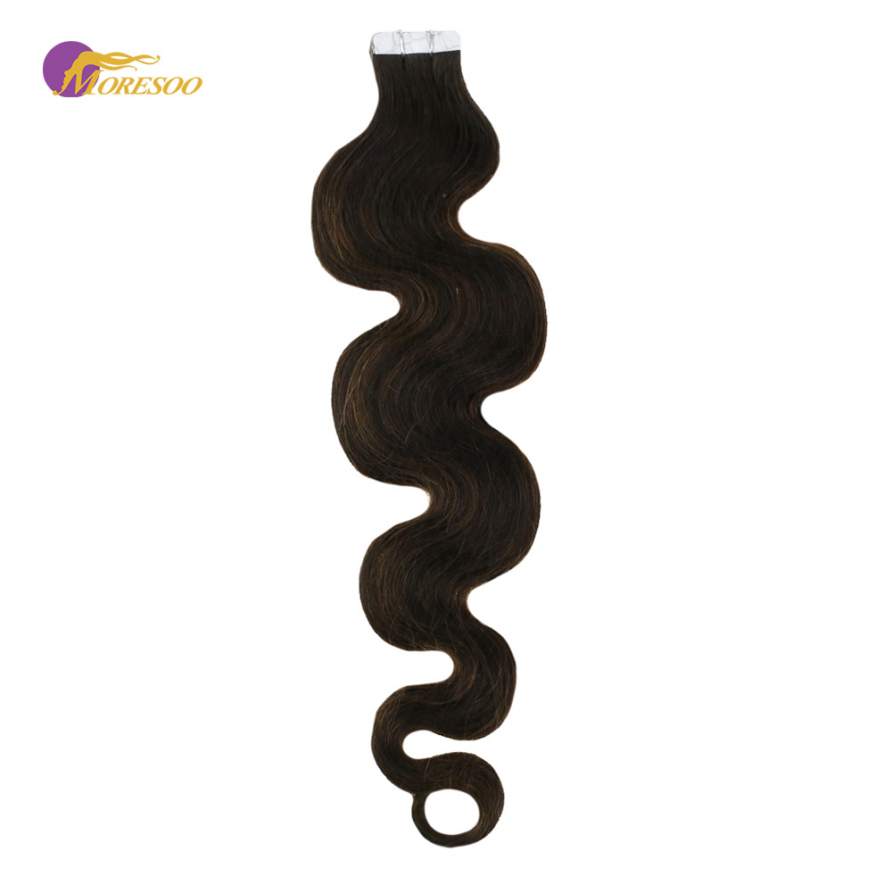 Moresoo Body Wave Tape In Hair Extensions Human Remy Hair PU Skin Weft Balayage Color #2/6/2 Brazilian Hair 20PCS 50G 16-22 Inch