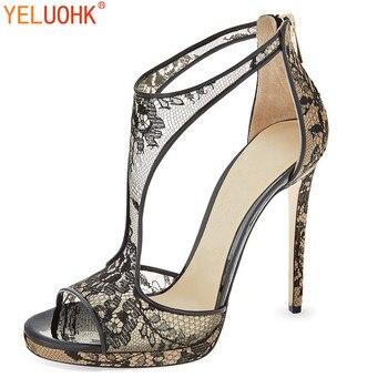 0cdf7558a 33-43 босоножки на высоком каблуке со шнуровкой Женская летняя обувь 2018  г. летние женские босоножки пикантная обувь на каблуке 12 см, большие ра.