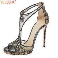 33 43 Lace High Heels Sandals Women Summer Shoes 2018 Summer Women Sandals Heel 12 CM Big Size Sexy