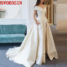 500ff604857 Women Jumpsuit Pants With Long Train White Evening Dresses Off Shoulder  Sweep Train Elegant Prom Party
