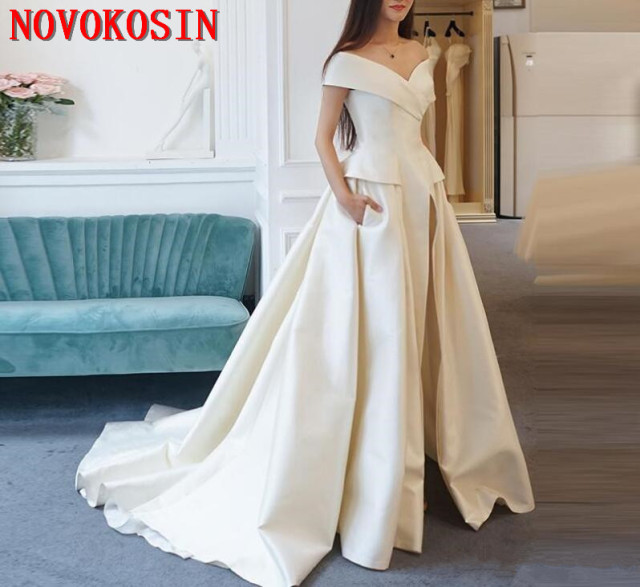 421f2767b66 Women Jumpsuit Pants With Long Train White Evening Dresses Off Shoulder  Sweep Train Elegant Prom Party