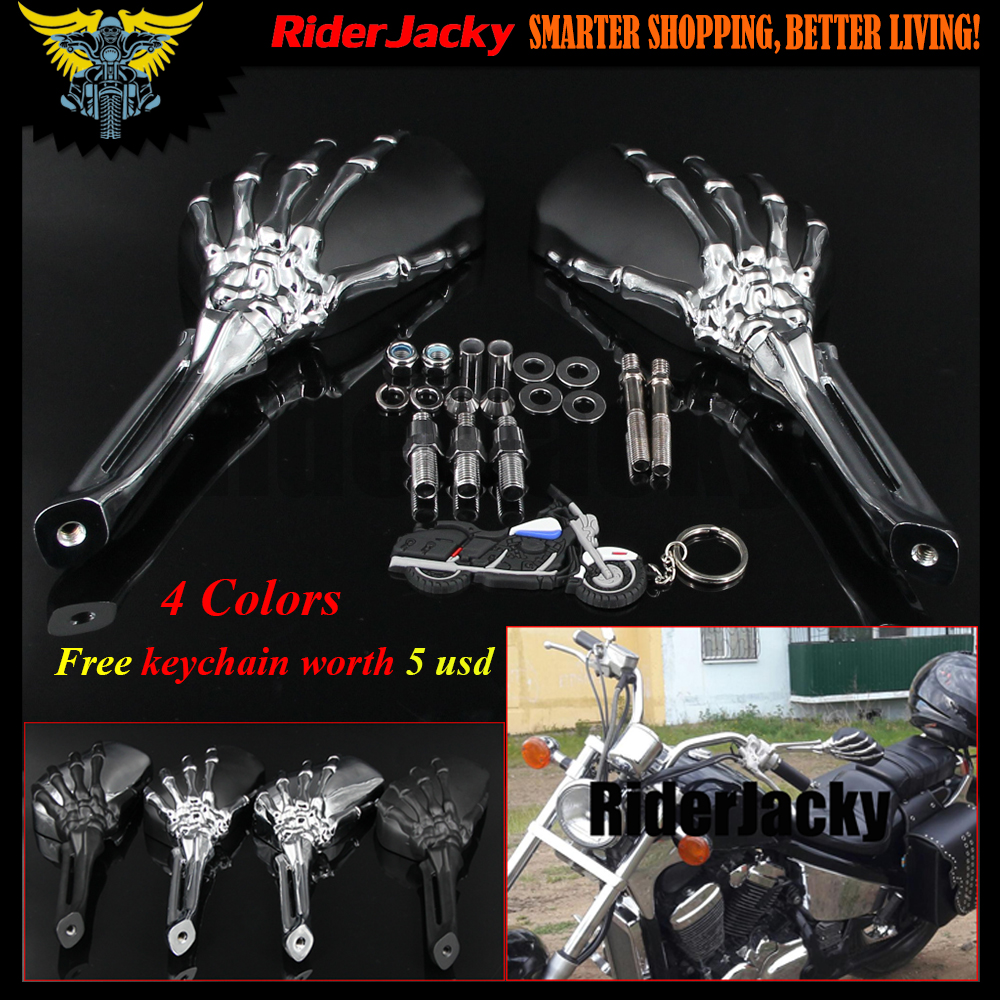 Chrome Skull Skeleton Rearview Mirrors For Suzuki Intruder Volusia Boulevard / Honda Shadow 750 1100 VTX VT / Yamaha V-Star black skull skeleton mirrors metric for harley yamaha 10 8mm cruiser bike