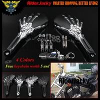 Chrome Skull Skeleton Rearview Mirrors For Suzuki Intruder Volusia Boulevard / Honda Shadow 750 1100 VTX VT / Yamaha V Star