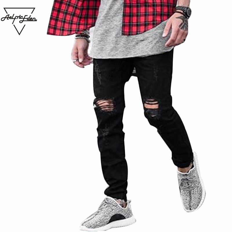 Aelfric Eden Casual Pants of Men High Street Mens Destroyed Black Joggger Damage Jeans Rock Star Jeans Ripped Hole Pants SNL672 2017 new hiphop men hole jogger pants high quality casual destroyed skinny ruched jeans hole casual pants jogger rock jeans