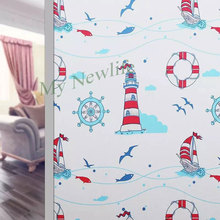 Lighthouse ship Window Film Decorative Stained Frosted No-Glue electrostatic Glass sticker kids room Home Decor 45/60/90*200cm