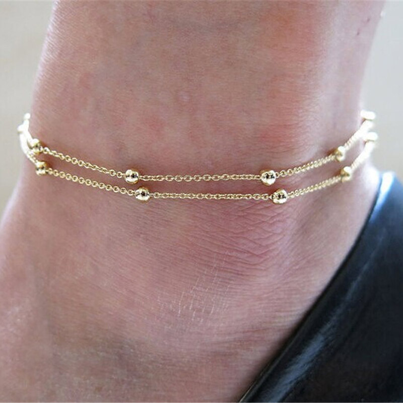 Yobest European and American trade jewelry chain beads anklets double AliExpress ebay explosion models Lady Ankle Bracelets(China)
