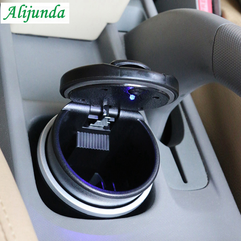 Portable car drum ashtray storage cup with <font><b>LED</b></font> <font><b>lights</b></font> for Skoda Citroen <font><b>Peugeot</b></font> 206 207 208 301 307 308 407 2008 <font><b>3008</b></font> 4008 image