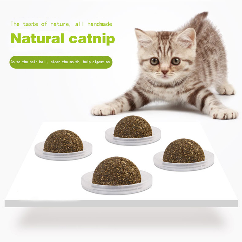 Cat Peppermint Ball Cat Interactive Toys Catnip Isinglass Nutritional Balls Promote Vomiting Hair Best Price image