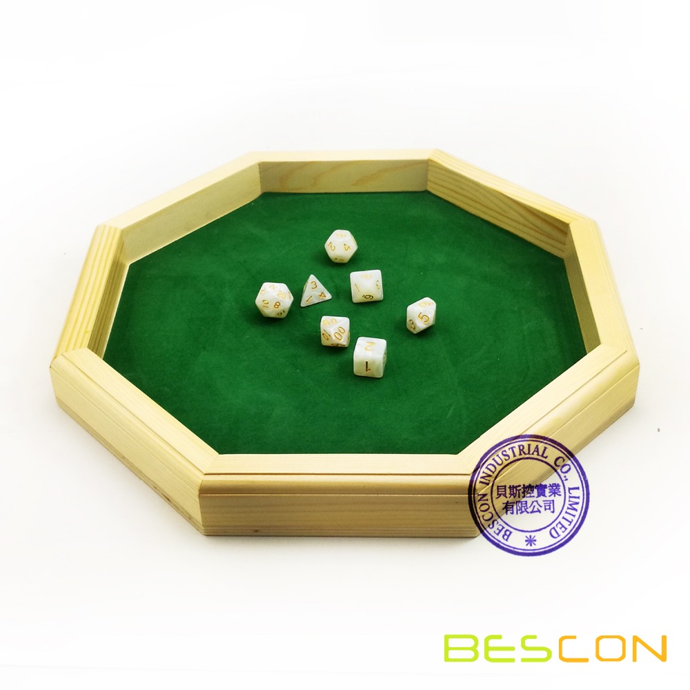 Heavy Duty 12 Inch Octagonal Wooden Dice Tray With Felt Lined Rolling Surface, Wooden Dice Rolling Tray