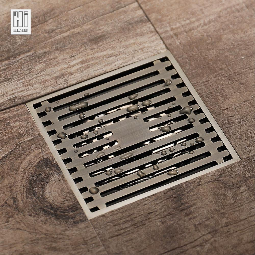 цена на HIDEEP Antique Bronze Shower Floor Drains For Family Bathroom Sink Brass Deodorant Bathroom Shower Common Floor Drain