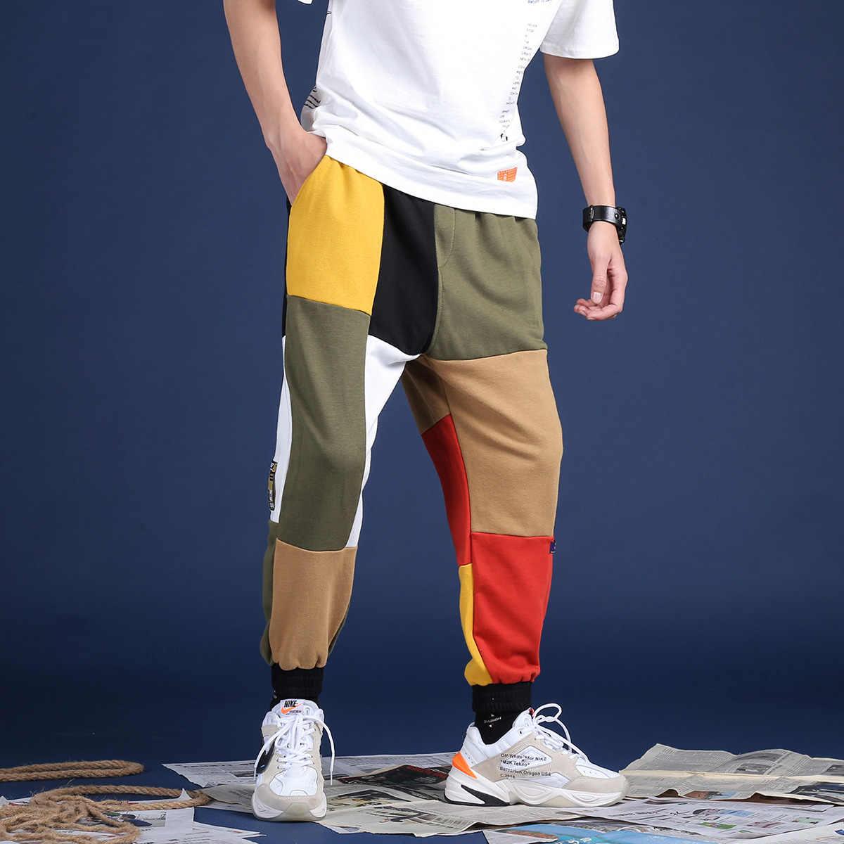 bafed27383663 ... EFUNGAL Multi-color Patchwork Casual Pants Men 2019 Hip Hop Joggers  Fashion Harajuku Streetwear Urban ...