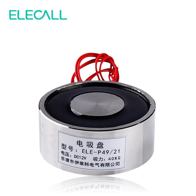 ELECALL ELE-P49/21 LS-P49/21 DC 12 V 24 V di Sollevamento Magnete Elettromagnete Elettrico Solenoide Ascensore Tenendo 40 kg 10 W